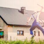 bouwvakker, huis, springend mensely