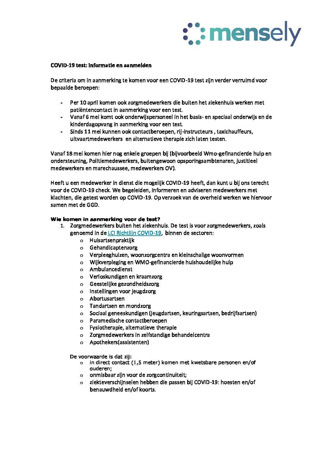 COVID-19 test informatie en aanmelden